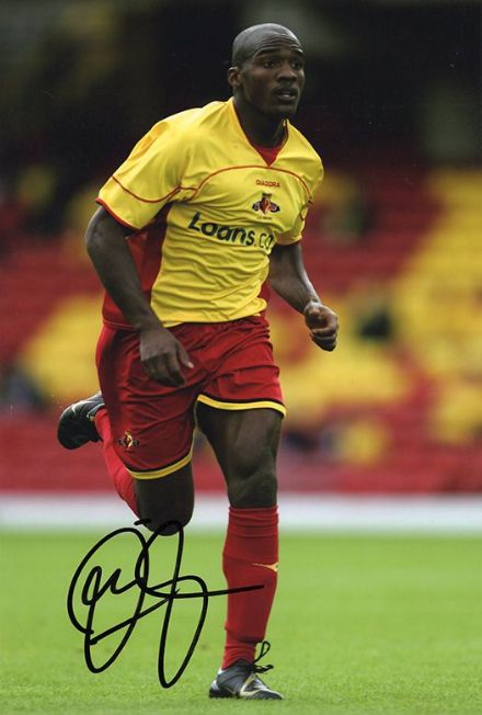 Damien Francis, Watford, signed 12x8 inch photo.(2)